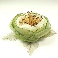 Купить Вальс Оливковой Рощи. Брошь-цветок ручной работы из ткани - оливковый, зелёный
