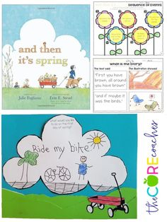 text and illustration graphic organizers for and then it's spring