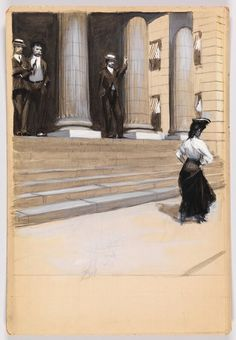 Study of Figures on Steps of Colonnaded Building, Edward Hopper, circa 1900 American Realism, American Artists, Toulouse, Manet, Edward Hopper Paintings, Gouache Color, Statues, Ashcan School, Most Famous Artists