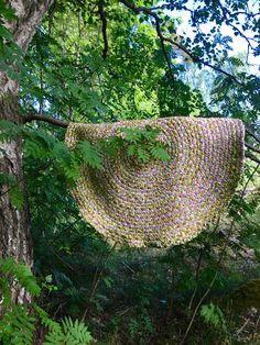 My 41st braided rug, Rosebud, ready 5.6.18. Diameter 109 cm.