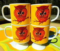 VTG 1960s Retro Orange Ceramic Made In Japan Pedestal Big Eye Owl Groovy Cups 4