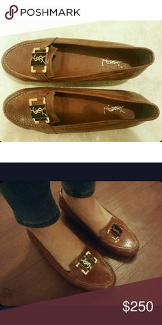 YSL Cognac Loafers / Smoking Slippers Very lightly worn. Minor scuff at the toe. Labeled as a size 40 which translates as a size US 10 but this fits more like a nine or nine and a half in my opinion. Runs small Yves Saint Laurent Shoes Flats & Loafers