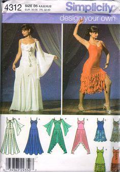 Simplicity 4312 Misses Dance Dress Costume Pattern by mbchills Costume Patterns, Dress Patterns, Craft Patterns, Vintage Patterns, Salsa Dress, Ballroom Dance Dresses, Costume Dress, Flamenco Costume, Dance Costumes