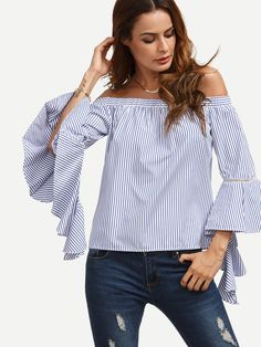Blue Striped Off The Shoulder Ruffle Sleeve Blouse -SheIn(Sheinside) Mobile Site