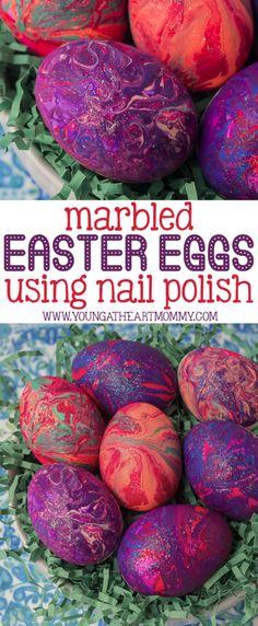 Marbled Easter Eggs Using Nail Polish