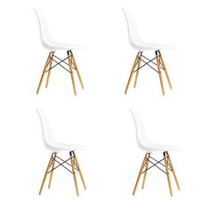 4 x White EAMES INSPIRE EIFFEL DSW RETRO LOUNGE DINING CHAIR CHAIRS WOOD BASE