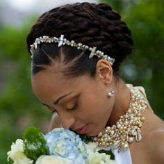 Elegant wedding style for natural hair.
