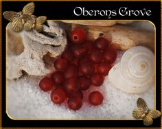 4mm blood red frosted glass beads, 1mm hole 4mm blutrote gefrostete Glasperlen, 1mm Lochgröße