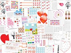 FREE worksheets: Valentine Printable Pack with 77 activities for kids ages 2-7.