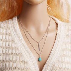 Double Necklace Drop Pendant Necklace Ladies Fashion Jewelry (Silver)