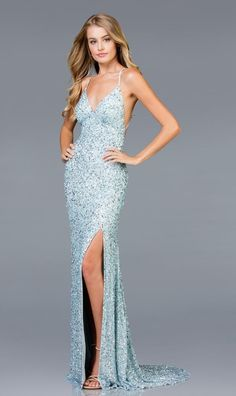 bf4eeb56c90 Check out the deal on Scala 48938 Beaded Gown with Low Open Back at French  Novelty