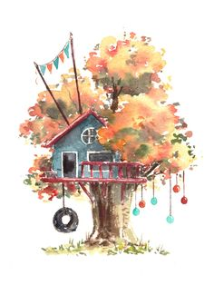 Watercolor Tree House Illustrations by peregrinaprints Watercolor Trees, Watercolor Drawing, Watercolor Background, Painting & Drawing, Watercolor Paintings, Simple Watercolor, Watercolor Landscape, Watercolours, Watercolor Animals