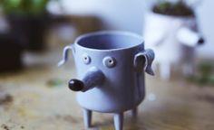 Ceramic Dog Planter, Cactus planter, flower pot, Dog shape planter - Modern Contemporary Ceramic Design