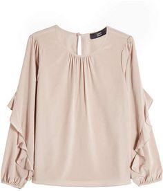Steffen Schraut Silk Blouse with Ruffles Ruffle Sleeve, Ruffle Blouse, Flutter Sleeve, Thing 1, Cute Blouses, Pink Tops, Ruffles, Muslim, Clothes For Women