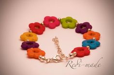 Bracelet - colourful flowers with silver spacers by RediMade on Etsy