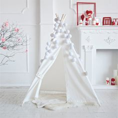 Children's Room Decor – White canvas teepee, wigwam, kids teepee, tipi – a unique product by HappyTeepee on DaWanda
