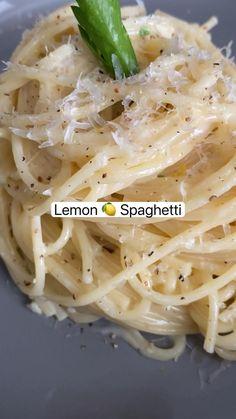 Lemon Spaghetti, Lemon Pasta, Spaghetti Recipes, Creamy Spaghetti, Vegetarian Recipes, Cooking Recipes, Healthy Recipes, Delicious Pasta Recipes, Easy Pasta Dinner Recipes