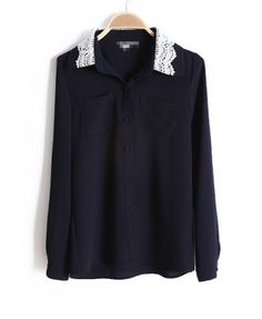 Blue Blouse with Contrast Collar Details