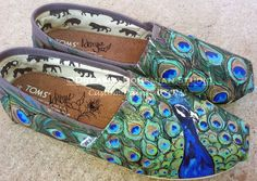Toms, Custom Hand Painted Peacock Slip ons, Feathers Shoes for Women, Gypsy Boho Flats for Bohemian Peacock Shoes, Peacock Purse, Peacock Theme, Peacock Decor, Peacock Colors, Peacock Art, Peacock Wedding, Peacock Design, Hand Painted Toms