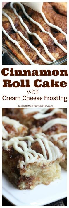 Cinnamon Roll Cake with Cream Cheese frosting is AMAZING! All of the warm sweet flavor of a cinnamon roll, but way easier!