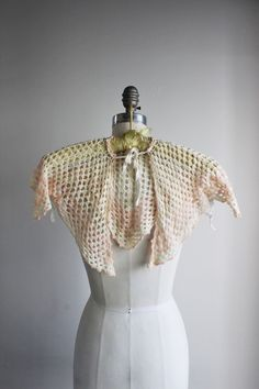 b7f71716f344c Vintage 1950s Knitted Baby Bed Jacket Shawl