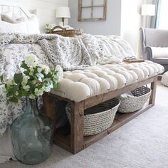 Hot off the DIY presses? This new basket weave cushion bench I made for., Hot off the DIY presses? This new basket weave cushion bench I made for. Bedding Master Bedroom, Home Bedroom, Bench In Bedroom, Bedroom Ideas, Diy Bank, Camas King, End Of Bed Bench, Farmhouse Style Bedrooms, Bedrooms