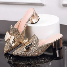 (46.74$)  Buy here - http://ai2fg.worlditems.win/all/product.php?id=32800155048 - Leather sandals women medium heels genuine gold sliver pointed toe 2017 summer square heel strap butterfly knot sexy mules shoes