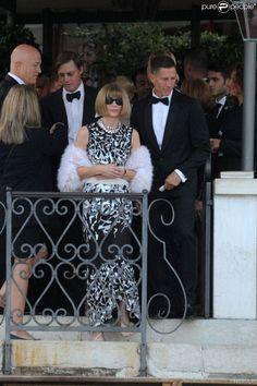 Anna Wintour et son mari Shelby Bryan - George Clooney et ses invités quittent l'hôtel pour se rendre à son mariage avec Amal Alamuddin à Venise, le 27 septembre 2014.  George Clooney leaves with the guests the hotel to go to his wedding with Amal Alamuddin in Venice, on Septembre 27, 2014.27/09/2014 - Venise