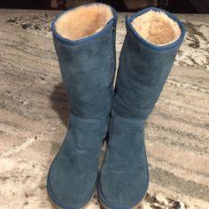 UGG TALL BOOTS TEAL UGG BOOTS. Interior Full Zipper Boots. Worn a few times. Good condition. Still Fluffy Inside. UGG Australia Shoes Winter & Rain Boots