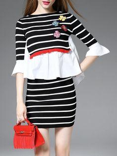 #AdoreWe Auchan-Ai Black Ruffled Casual Two Piece Mini Dress - AdoreWe.com