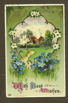 ForgetmeNots and Thatched Roof Cottage Vintage by TheOldBarnDoor, $4.00