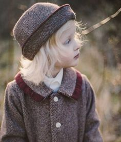 Girl's Donegal tweed coat and hat. Made exclusively by hand in Ireland from Donegal Tweed. In lamb's wool with a satin lining. Made by Elks of Ireland. Childrens Coats, Burgundy Weave, Tweed Coat, Donegal, Beautiful Children, Kids Fashion, Winter Hats, Elks, Handmade