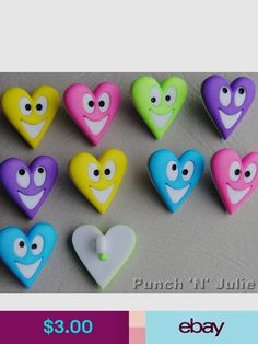 Bright Funny Heart Faces Novelty Dress It Up Craft Buttons YOU MAKE ME SMILE