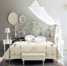 Bedroom: Wrought Iron Headboard Ideas Wrou with Bed Frames Discount Iron Beds Romantic Wrou / Fancy Wrought Rod Iron Beds Curved With Silver Color And Wall Mounted Mirror Also Small White on adadisini.info