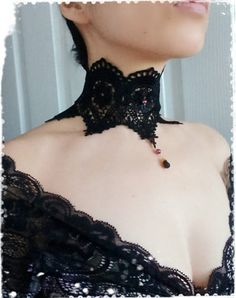 Black Victorian Lace Choker Necklace- Vintage Inspired Venice Lace Neck Corset Collar-GothicSteampunkVampireMaleficent Costume-ANGELINA by CandiedCherrybyKC https://www.steampunkartifacts.com