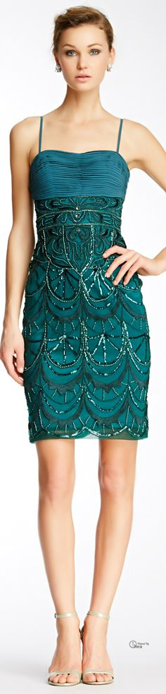❤︎† Sue Wong Ruched Bodice Beaded Dress | Teal