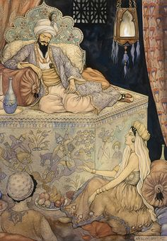 The story telling of Queen Scheherazade to King Shahryar. Anton Pieck. 1943. | Inspired by One Thousand and One Nights.