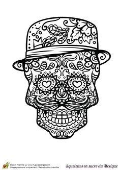 Coloriage crâne en sucre mexicain, petite moustache - Hugolescargot.com