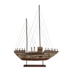 Custom-styled Decorative Wood and Metal Boat, perfect for large mantle, table, or wall display.