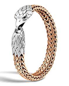 Gold Chains For Men John Hardy Men's Silver/Bronze Eagle Head Chain Bracelet - John Hardy bronze chain bracelet. Handcrafted in Bali. Silver Necklaces, Gold Jewelry, Jewelery, John Hardy Bracelet, Gold Chains For Men, Eagle Head, Bracelet Cuir, Bracelet Men, Silver Man