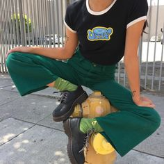 black/white tee [w blue/yellow 'unif' logo] Looks Style, Looks Cool, Style Me, Indie Outfits, Fashion Outfits, Grunge Outfits, Fashion Weeks, Stylish Outfits, Aesthetic Fashion
