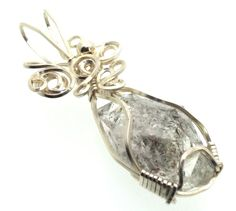 Herkimer Diamond Wire Wrapped Crystal Gem Pendant 14