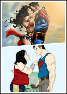 Superman :: wonder woman :: DC Comics :: superheroes :: love :: cartoon :: before and after (than and now) :: comics (funny comics & strips, cartoons) :: fandoms Bd Comics, Funny Comics, Comic Book Heroes, Comic Books, Wonder Woman Y Superman, Couples Comics, Marvel Characters, Cartoon Art, Funny Photos