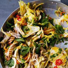 Saffron chicken and herb salad