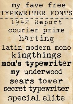 a collection of free typewriter fonts via www.theshabbycreekcottage.com