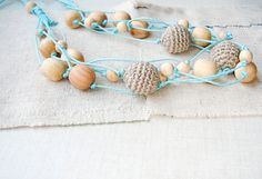 Grey blue Linen necklace Crochet natural by MiracleFromThreads, $15.00