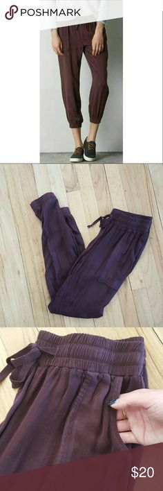 NWOT American Eagle Satin jogging pants. Size XS NWOT American Eagle Satin deep purple jogging pants. Size XS but can fit a small as well. I never got around to wearing these except when I initially tried them on. Super soft and comfortable. Has a draw string. These pants come down farther on me then in the photo. I am 5'2  for reference. Perfect for spring!  Bundles welcomed! Make me an offer! Happy poshing! XO American Eagle Outfitters Pants