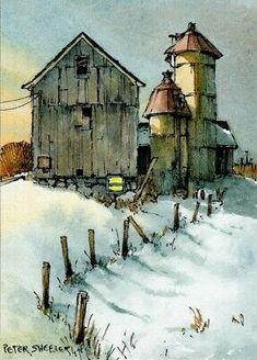 Watercolor Art Paintings, Pen And Watercolor, Watercolor Landscape, Watercolours, Peter Sheeler, Snow Night, Pen And Wash, Funny Art, Cool Art