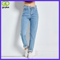 Free shipping 2017 New Slim Pencil Pants Vintage High Waist Jeans new womens pants full length pants loose cowboy pants C1332