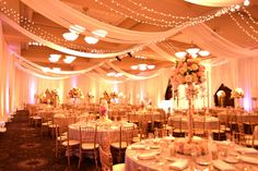 Beautiful ceiling fabric swagging by All Seasons Event Rental